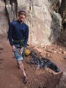 Rock Climbing Photo: A little scrape after falling on Iron Horse
