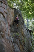 """Rock Climbing Photo: Erica on the """"jump move""""...  But at 5&#3..."""