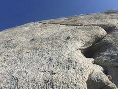 Rock Climbing Photo: Looking up the toward the traverse.