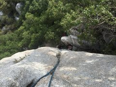 Rock Climbing Photo: Looking down from the belay ledge.