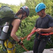 Rock Climbing Photo: Preparing to rappel.