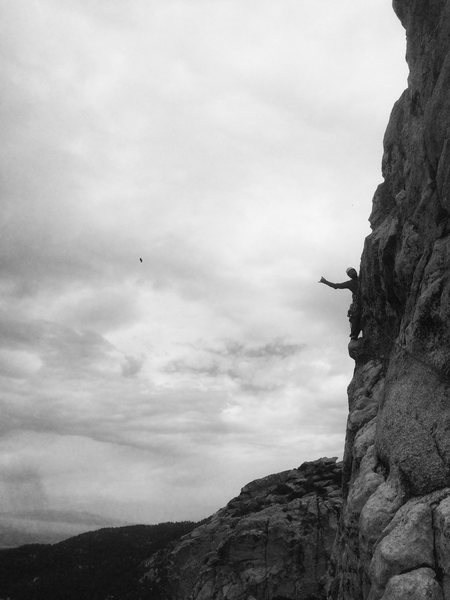 Rock Climbing Photo: Howard Way Way out there during the FA of  Black D...