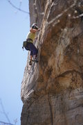 Rock Climbing Photo: Erica setting up for the technical crux
