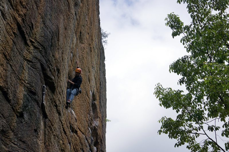 Rock Climbing Photo: Steve starting the technical crux