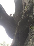 Rock Climbing Photo: Below the upper roof