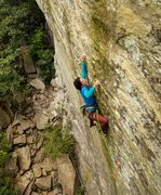 Rock Climbing Photo: Erica eyeing down the mailslot at the end of the t...