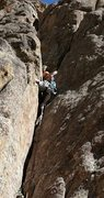Rock Climbing Photo: Laurie Dallenbach susses out the gear on Solo Crac...
