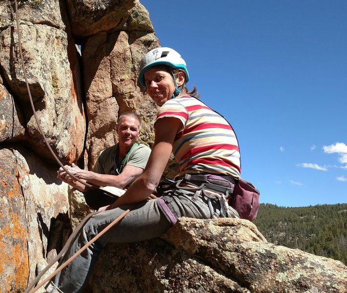 Joe Melley and Julie Gauff on the ledge above Solo Crack and below Aqua Dog.