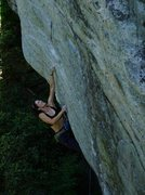 Rock Climbing Photo: Pulling the initial roof crux.  Photo: Justin Hedr...