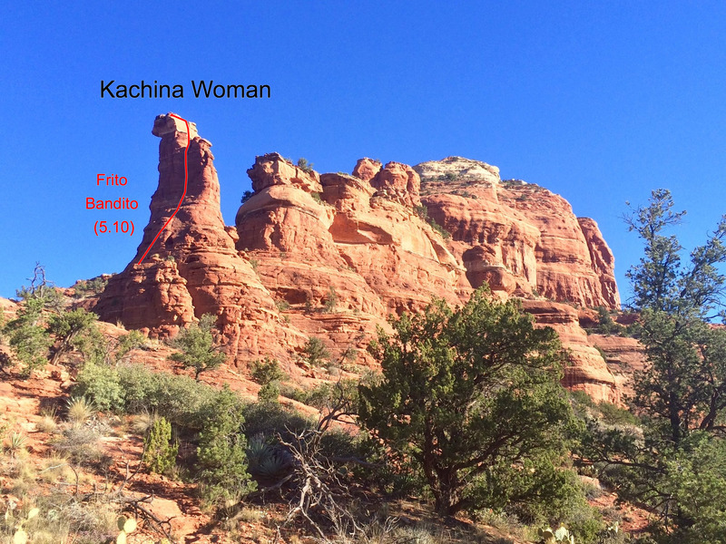 Looking northwest at Kachina Woman from the vicinity of Boynton Canyon trailhead. Frito Bandito (5.10) ascends the main shaded face, while the Original Route (5.9) climbs the opposite side.
