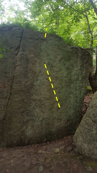 """Dyno Soar"" is on the right side of the classic crack problem, on the main boulder. From a decent incut crimp and a left hand pinch, with terrible glassy feet, dyno to the top of the sloping boulder problem and mantle over the top."