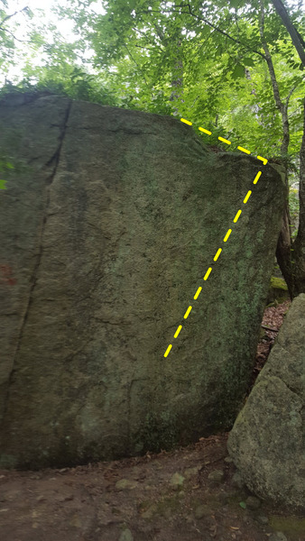 """The far right side of the main boulder. Rather than working up left to a terrible pinch (Dyno-Soar), stay right. Start matched on the obvious incut crimp and make dynamic moves to the lip, finishing in the same spot as """"Dyno-Soar.""""<br> <br> Very hard if you're a shorter climber."""