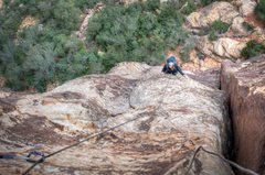 Rock Climbing Photo: DrJen on the 1st pitch of the classic Crimson Chry...