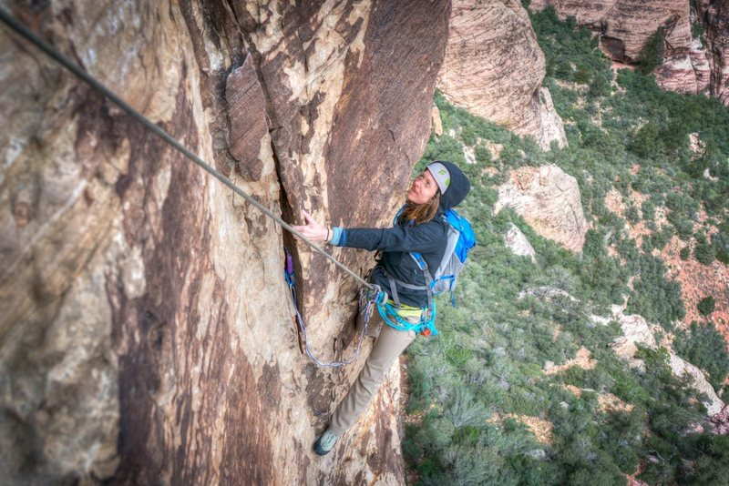 DrJen on the 1st pitch of the classic Crimson Chrysalis @ Red Rocks