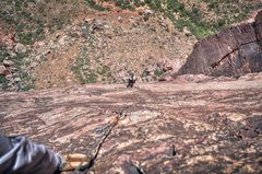 Rock Climbing Photo: DrJen on one of the final pitches of the classic B...