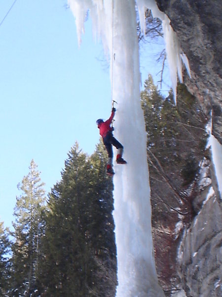 Most dangerous conditions I&@POUND@39@SEMICOLON@ve ever climbed it. Douglas led it, and survived after a block of ice with his screw, fell off the roof and ripped out 4 screws. He held on with one ax. Hope you are  still finding adventure, my friend.