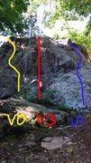 "Rock Climbing Photo: ""Nectar"" in yellow (V0). ""Black Mil..."