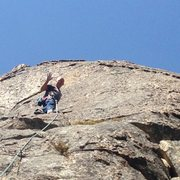 Rock Climbing Photo: Mike Arechiga on one of the 5.8 routes on the Main...