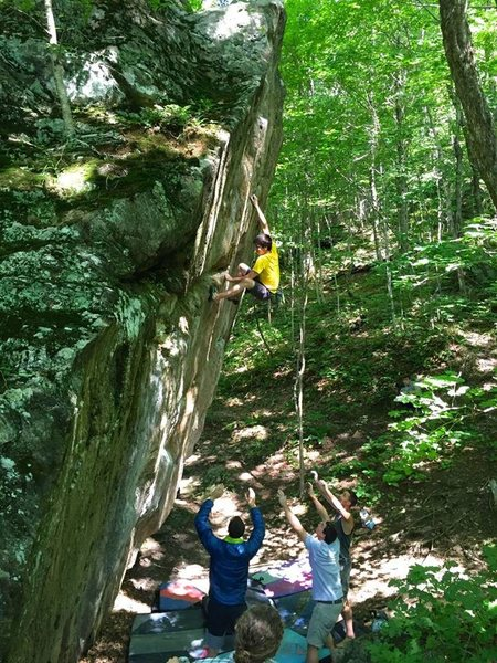 Rock Climbing Photo: Big moves high off the deck!