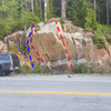 Toyota Tacoma in the left side of the picture for height reference. As you can see, it&#39;s a pretty tall boulder, maybe 25 ft. at its apex! (you can just make out the crash-pads in the center of the boulder as well)<br> <br> Blue: Monkey-Pants (Left),V5-<br> Pink: Monkey-Pants (Direct),V7+<br> Red: Playing Hookie, V3