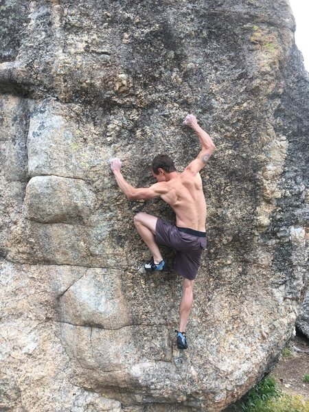 Setting feet for the crux.  For me it&@POUND@39@SEMICOLON@s a MASSIVE deadpoint/near dyno