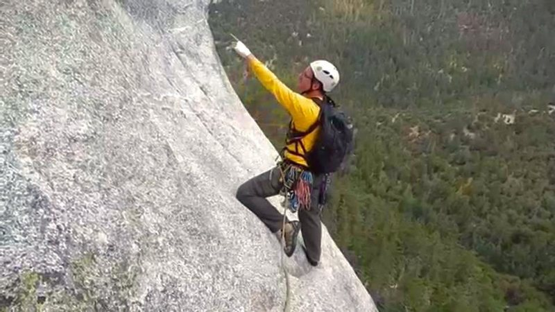 Beginning the 2nd pitch of El Whampo at Tahquitz Rock, CA