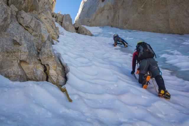 Heading up North Peak, North Couloir