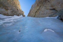 Great alpine ice on North Peak, North Couloir