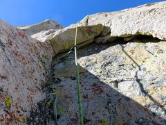 Rock Climbing Photo: Pitch 1. Looking up at the second half of Pitch 1,...