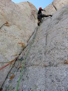 Rock Climbing Photo: Pitch 4. Jeff nearing the top of the crux corner t...