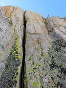 Rock Climbing Photo: Pitch 5. We belayed beneath this wide crack. We cl...