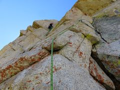 Rock Climbing Photo: Pitch 3. Looking up at the first half of Pitch 3 f...