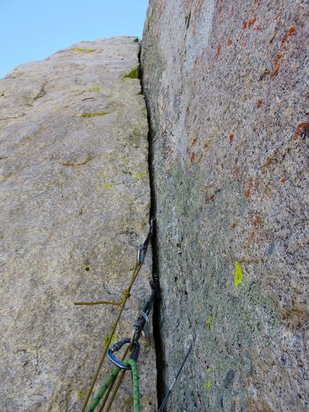 Rock Climbing Photo: Pitch 3. The 5.8 crack above our intermediate bela...