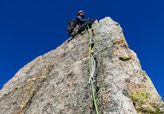 Rock Climbing Photo: Jeff on the summit, from the belay just below the ...