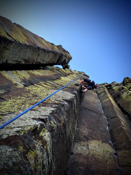 Rock Climbing Photo: Wife (Laura Ault) half-way up Route is Savage Hear...