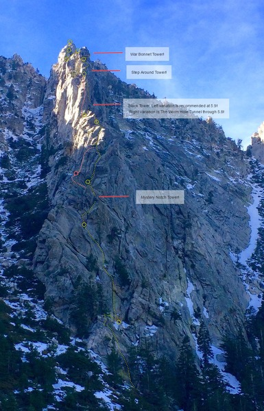 Rock Climbing Photo: Topo of The Altar Buttress, upper pitches are extr...