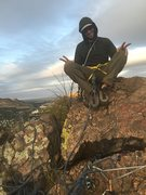 Rock Climbing Photo: Mike sitting on top of the anchor block with the s...