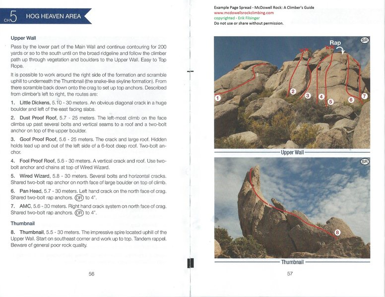 Example Page Spread from McDowell Rock<br> www.mcdowellsrockclimbing.com<br> copyrighted - Erik Filsinger