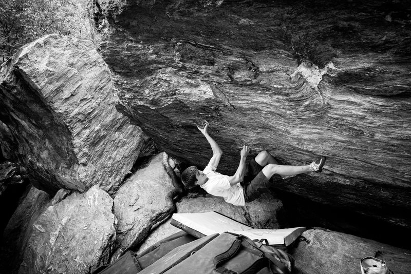 Rock Climbing Photo: Awesome problem. Landing isn't so bad with a c...