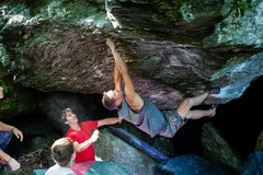 Rock Climbing Photo: Gavin crimping up the face of Overactive Imaginati...