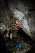 Rock Climbing Photo: The cave stays nice and cool. Sweet problem.
