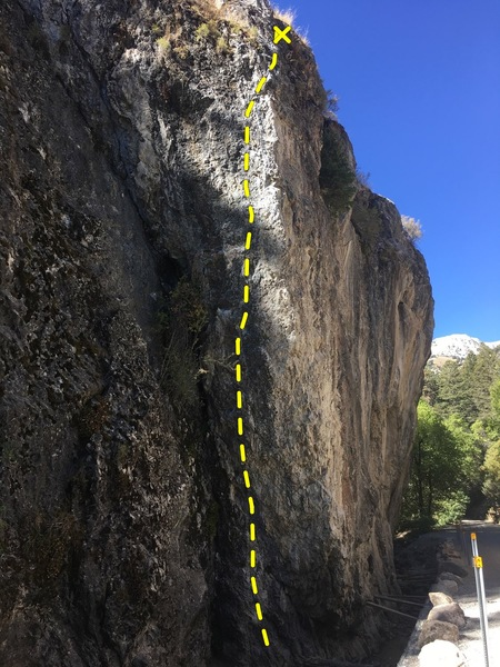 Rock Climbing Photo: Face of climb with morning sun, but soon to be sha...
