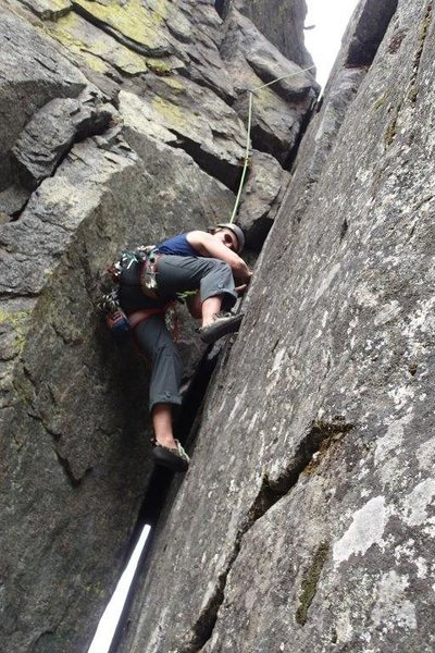 going up a 5.8 chimney in Tumwater Canyon, Leavenworth
