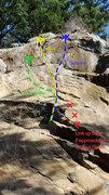 Rock Climbing Photo: Upper Bat Wall Topo
