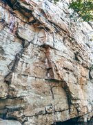 Rock Climbing Photo: First 4 bolts of graffiti.  First one is shown cli...