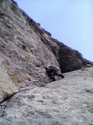 Rock Climbing Photo: Corner below roof, Bean's Shinning Wall of Sto...