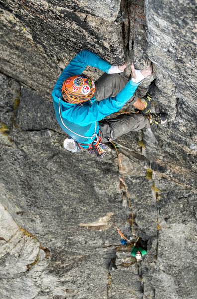 Rock Climbing Photo: The Big Pinch. A third of the way up the last gian...