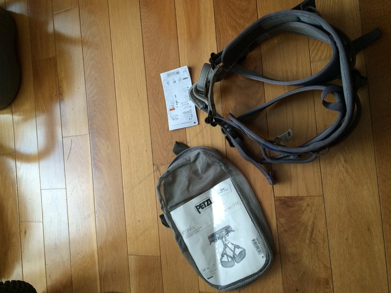 Harness, bag, and safety booklet