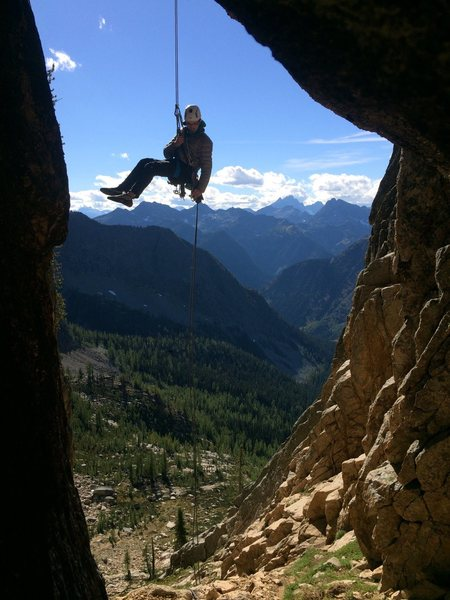 Rock Climbing Photo: John on the famous chockstone rappel. Trip report ...