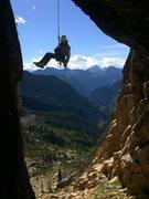Rock Climbing Photo: John on the famous chockstone rappel. Trip report ...